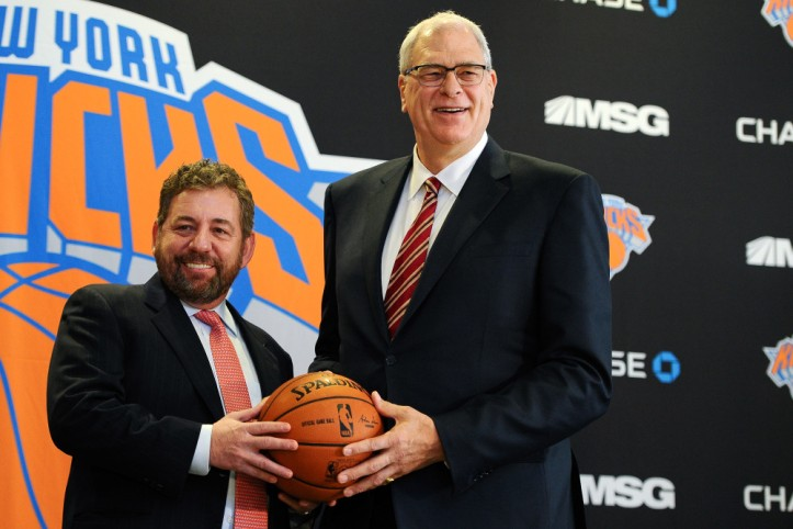 NEW YORK, NY - MARCH 18:  James Dolan, L, Executive Chairman of Madison Square Garden, stands with Phil Jackson during the press conference to announce Jackson as President of the New York Knicks at Madison Square Garden on March 18, 2014 in New York City.  (Photo by Maddie Meyer/Getty Images) ORG XMIT: 479324037 ORIG FILE ID: 479367961
