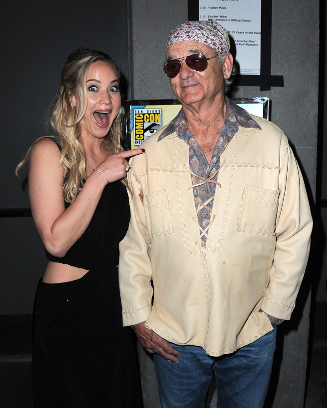 SAN DIEGO, CA - JULY 09:  Actress Jennifer Lawrence (L) poses with actor Bill Murray backstage at the Open Road panel during Comic-Con International 2015 at the San Diego Convention Center on July 9, 2015 in San Diego, California.  (Photo by Albert L. Ortega/Getty Images)